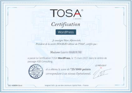 Certificat TOSA